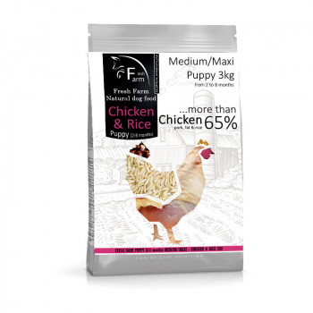 Fresh Farm Puppy 2-8 Medium/Maxi Chicken & Rice 3kg Fresh Farm - 1